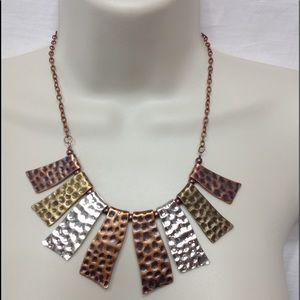 BRAND NEW PAPARAZZI tamped metal necklace/earrings